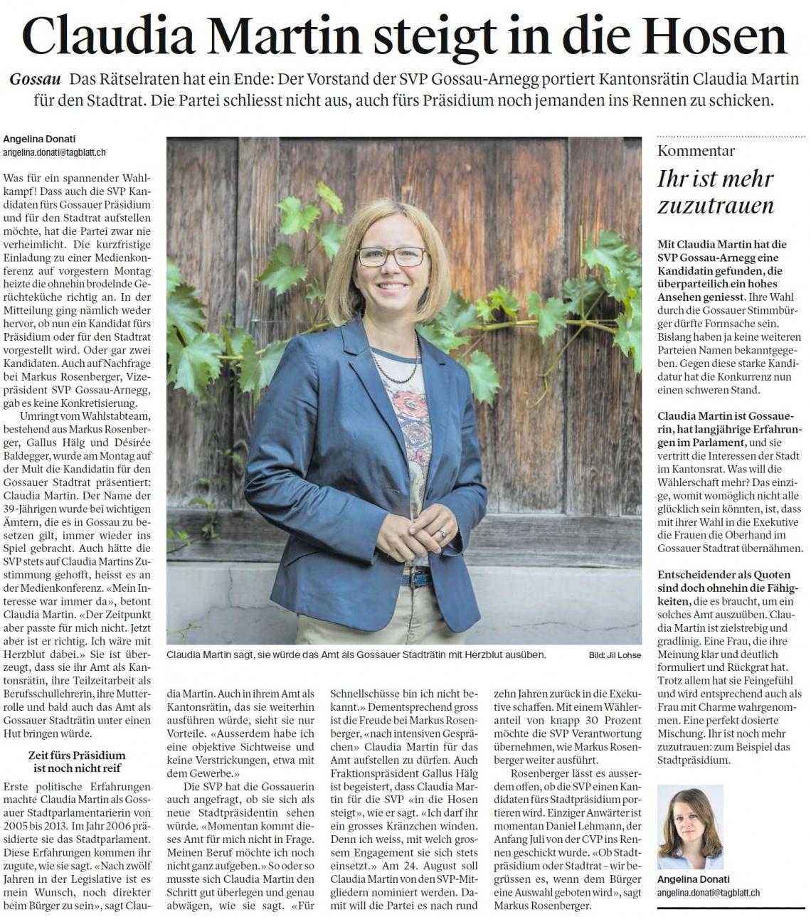 Claudia Martin steigt in die Hosen (Mittwoch, 02.08.2017)