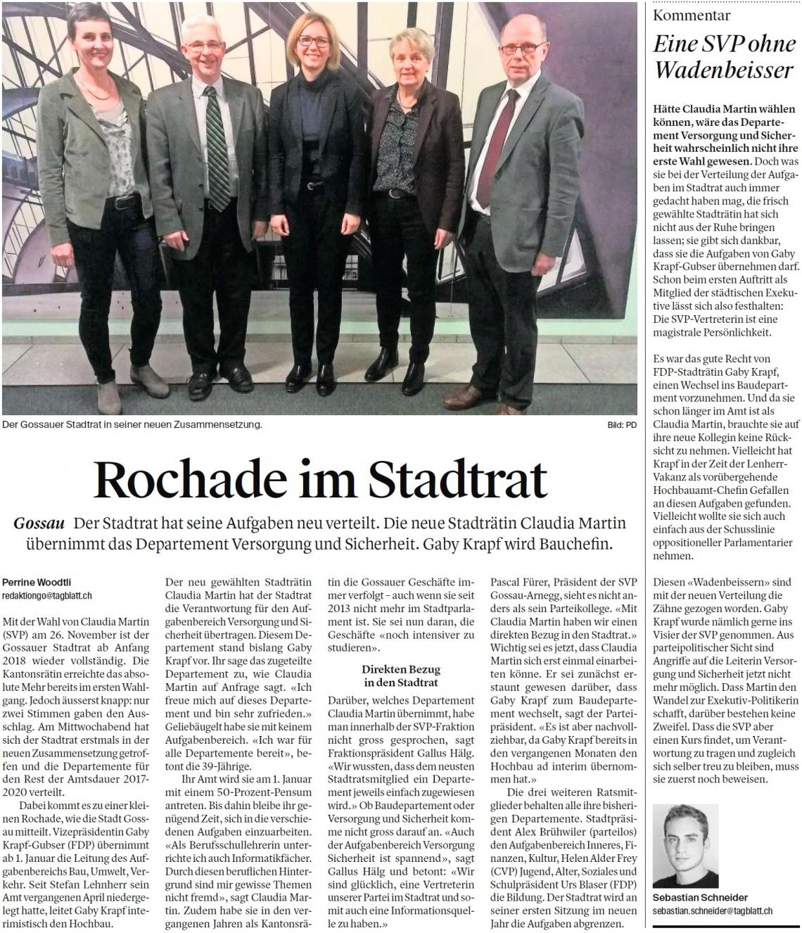 Rochade im Stadtrat (Freitag, 08.12.2017)