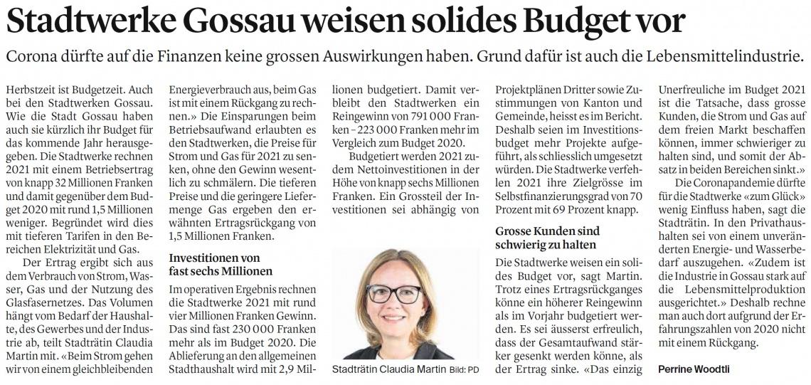 Stadtwerke Gossau weisen solides Budget vor (Freitag, 06.11.2020)