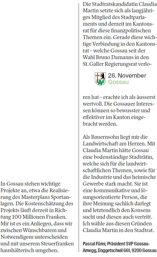 Wichtige Verbindung in den Kantonsrat (Mittwoch, 15.11.2017)