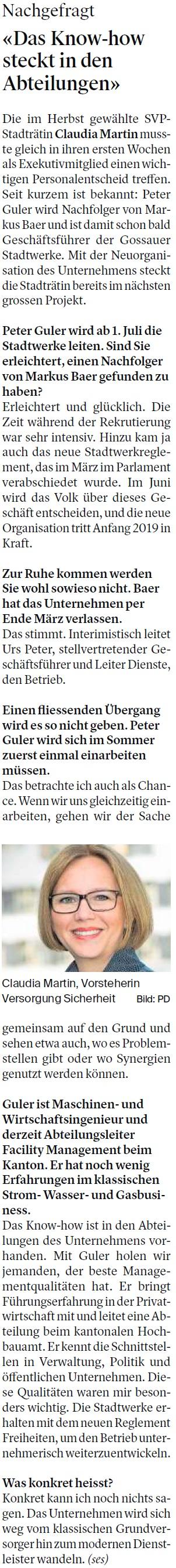 «Das Know-how steckt in den Abteilungen» (Freitag, 06.04.2018)