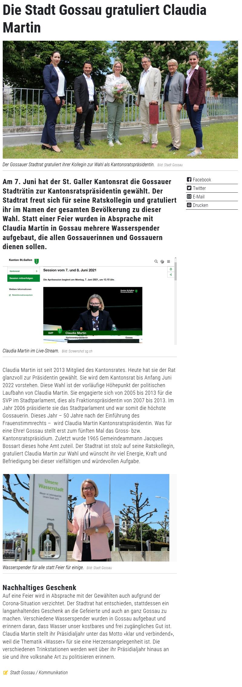 Die Stadt Gossau gratuliert Claudia Martin (Dienstag, 08.06.2021)